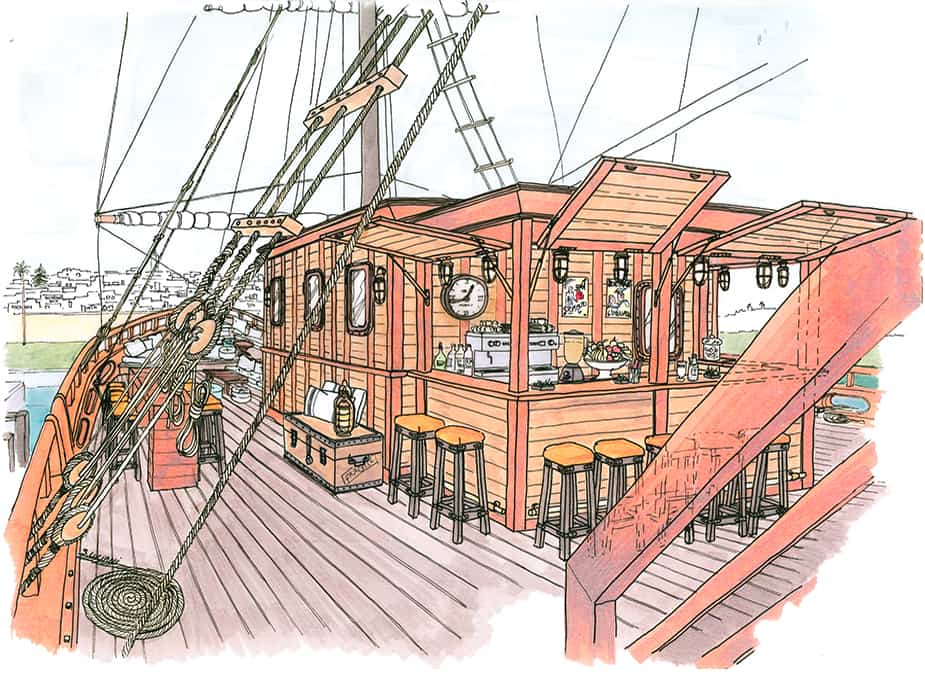 Croquis aménagement bar dessin aquarelle bateau