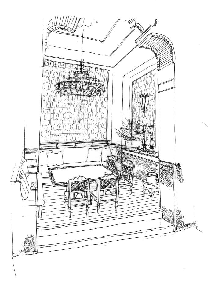 Croquis aménagement intérieur restaurant