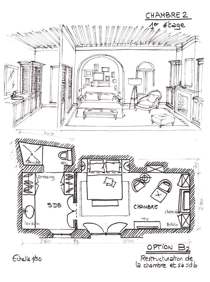 Croquis plan aménagement chambre