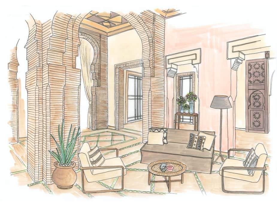 Dessin aquarelle maison intérieur salon