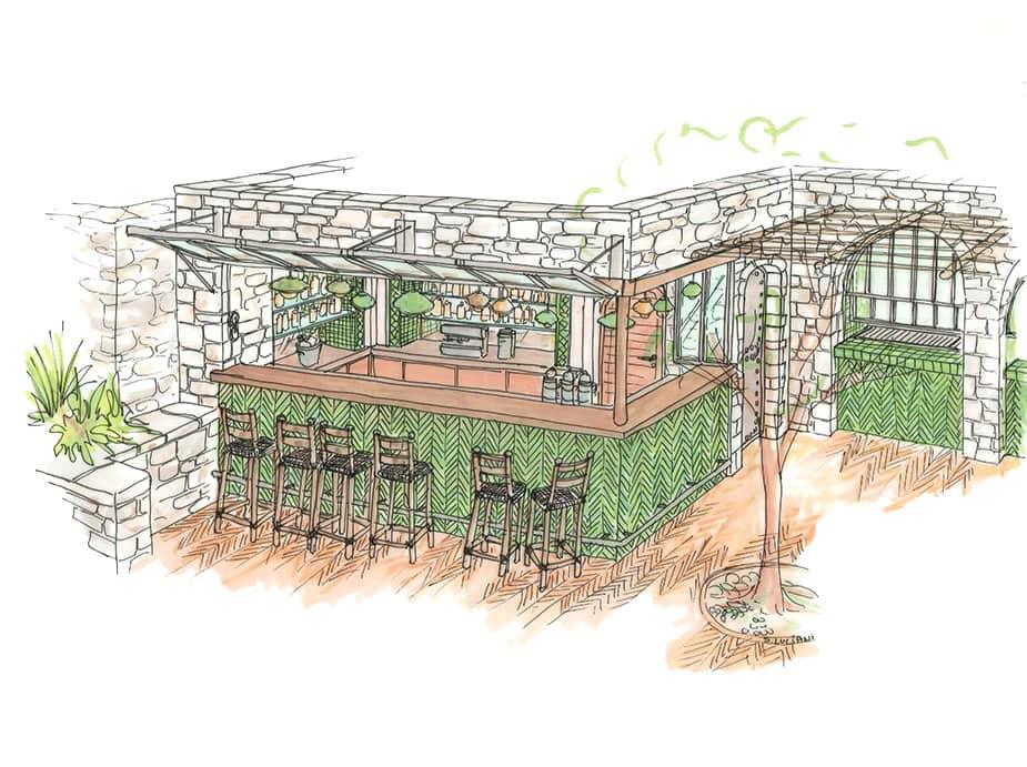 Dessin aquarelle aménagement terrasse exétieure