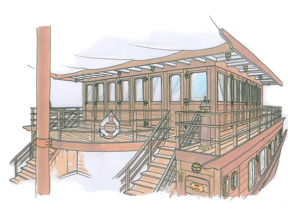 Dessin aquarelle pont bateau bois