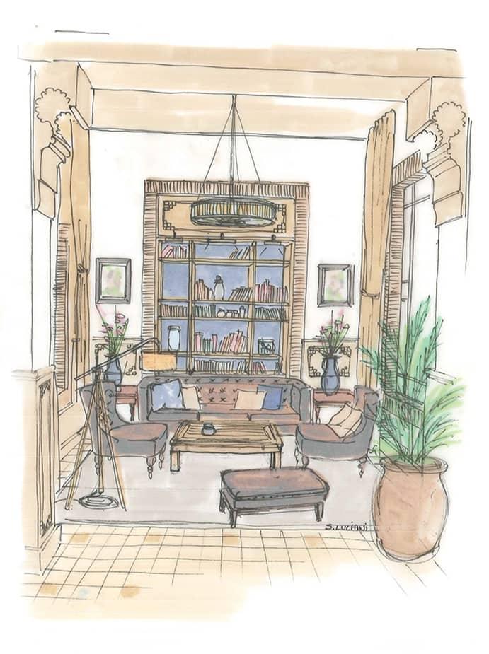 Dessin salon décoration intérieure