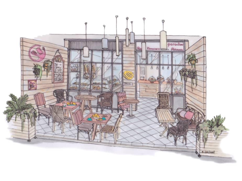 Dessin terrasse café