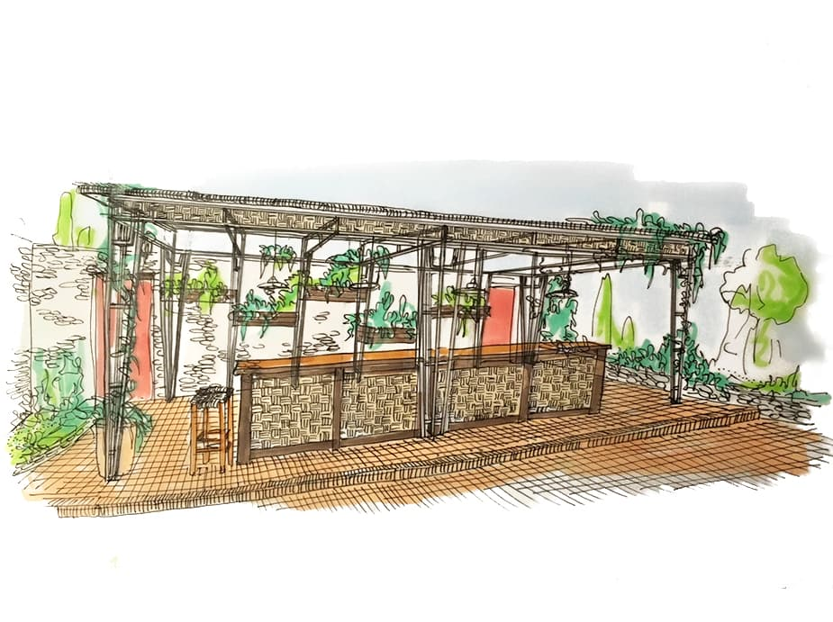 Illustration aquarelle terrasse exétieure