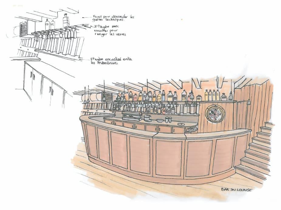 Illustrations aménagement bar