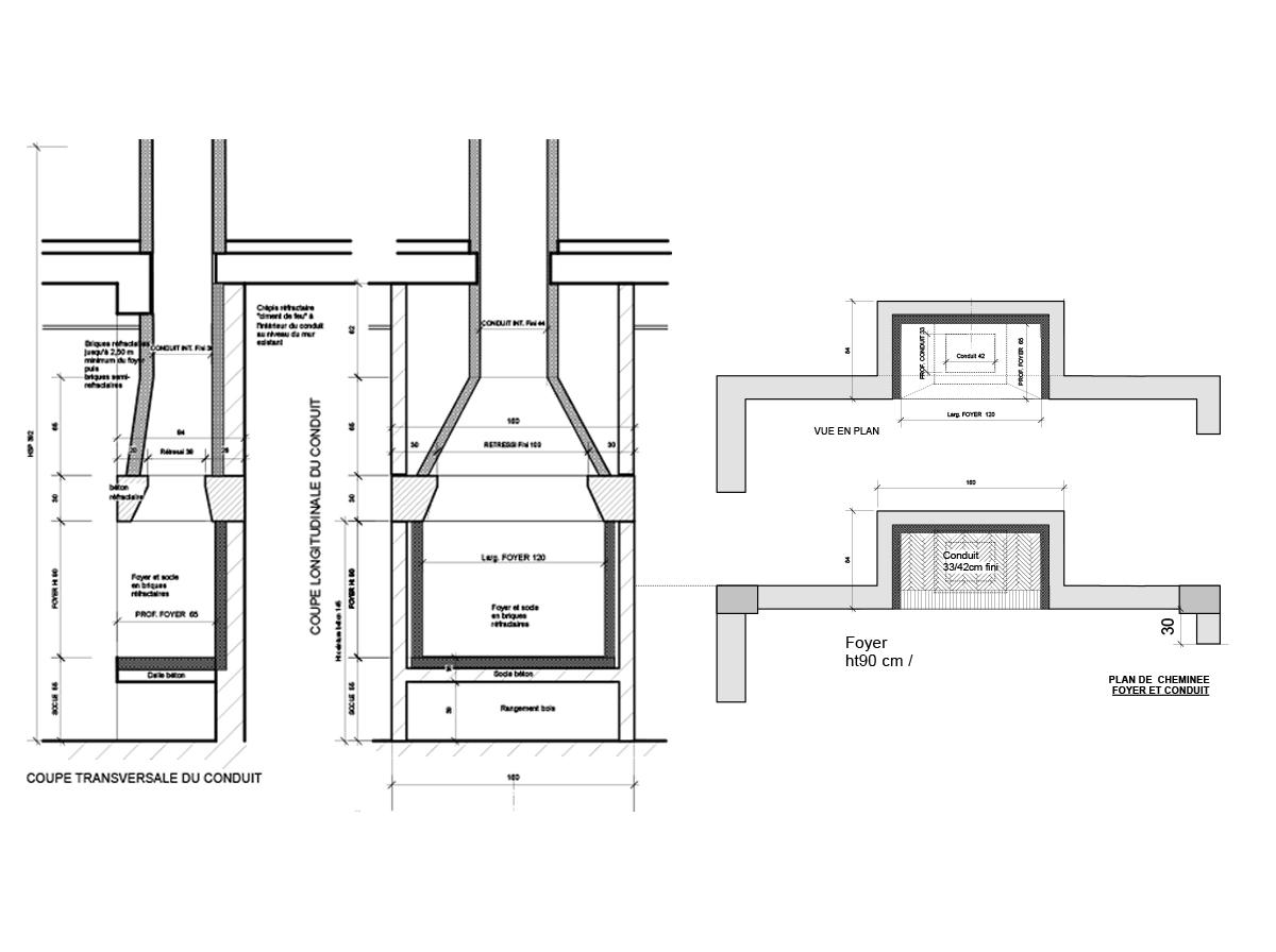 Plan cheminée foyer et conduit